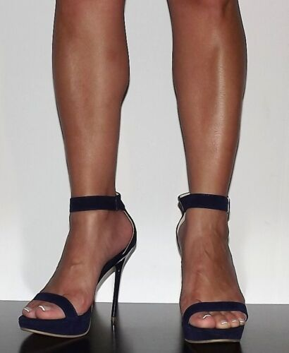"""Women 5"""" High Heel Platform Stilletto Navy Blue Faux Suede Ankle Strap 5.5-10 in Clothing, Shoes & Accessories, Women's Shoes, Heels 