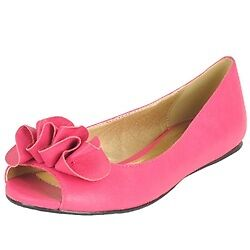 Women Black Pink Faux Leather Open Toe Causal Summer Wedding Ballet Flats Shoes