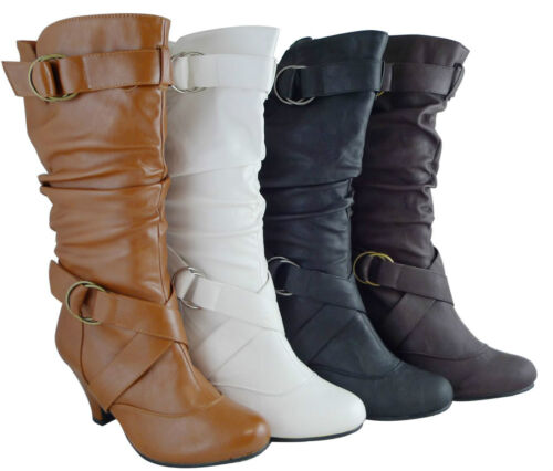 Women Boots Mid Calf Fashion Kitten High Heels Style Shoes Black Tan Brown White in Clothing, Shoes & Accessories, Women's Shoes, Boots | eBay
