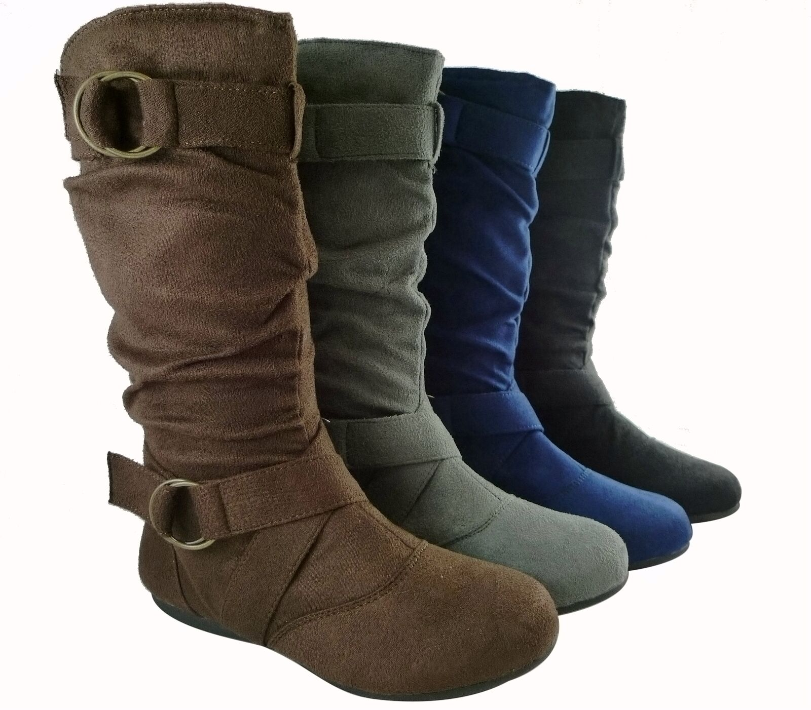 boots mid calf flat comfort fashion buckle disign