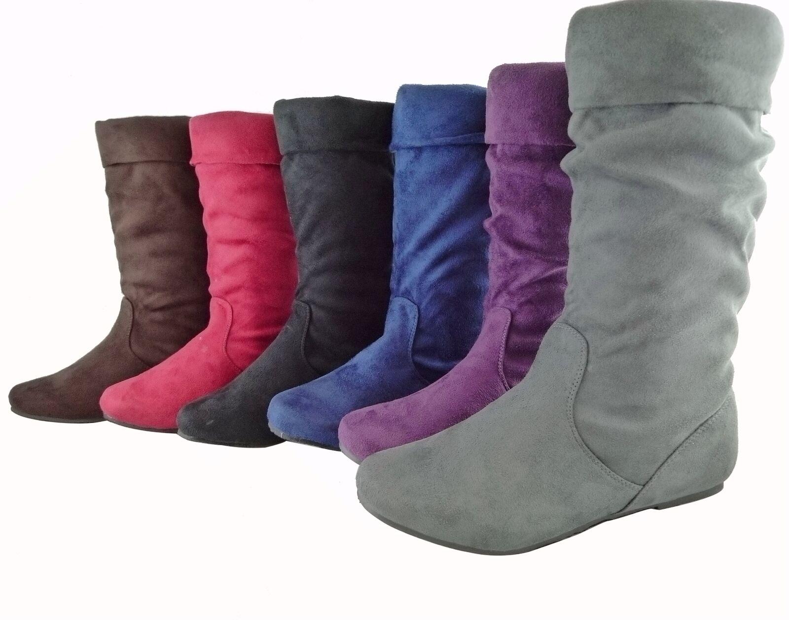 Women Boots Slouch Faux Suede Comfortable Folding Design