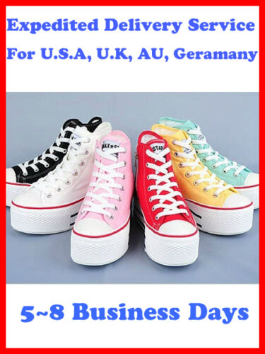 Women Canvas Platform Sneakers Shoes White/Black/Pink/Mint/Red/Yell US 5.5-8 in Clothing, Shoes & Accessories, Women's Shoes, Heels | eBay