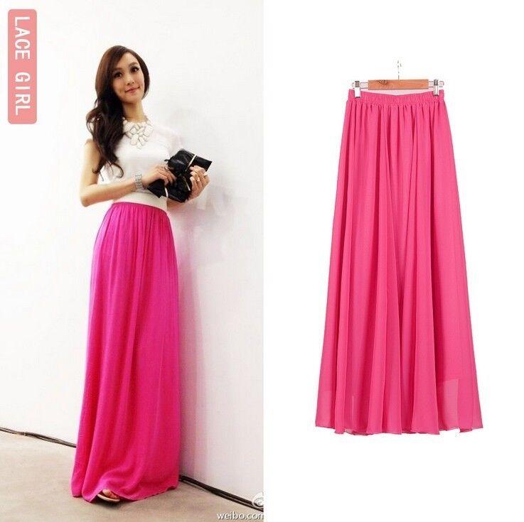 Women Chiffon Pleated Retro Maxi Long Skirt Elastic WaistBand Dance Dress 90CM