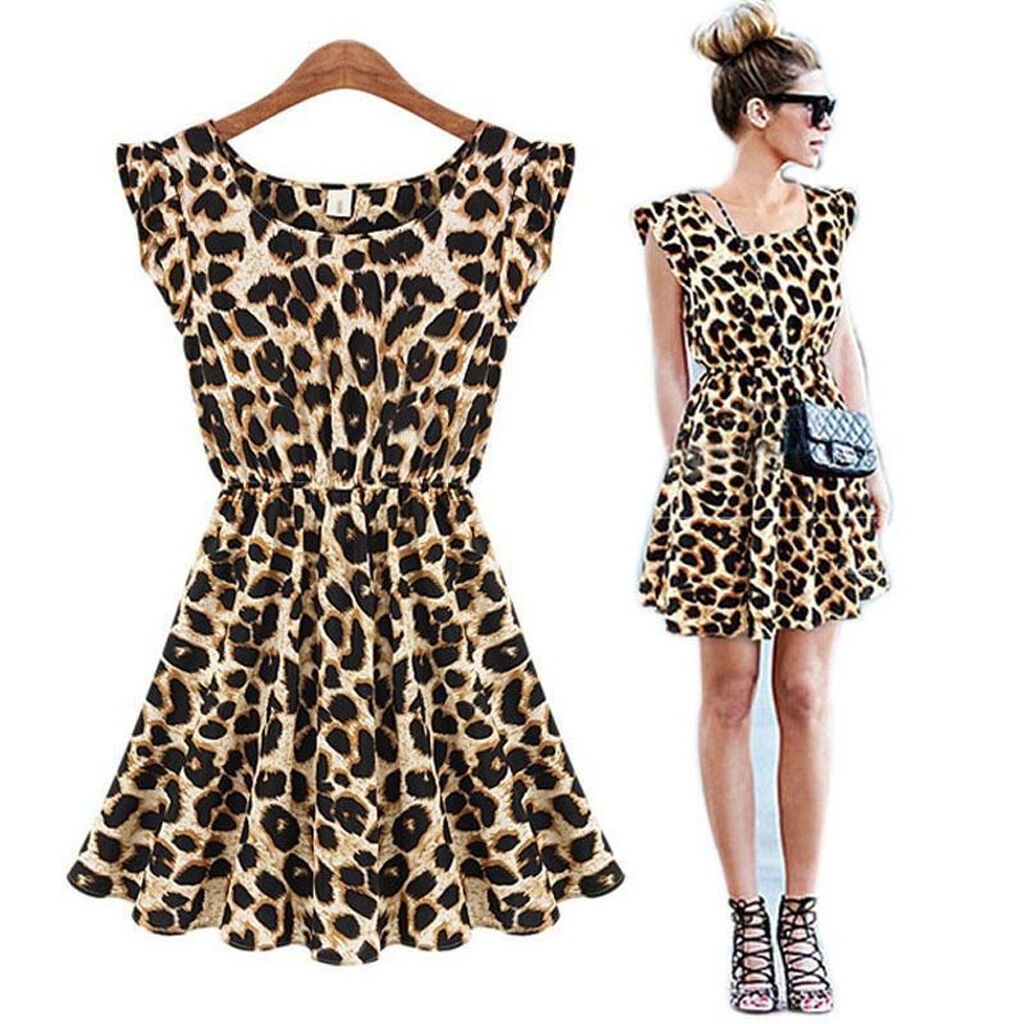 Women Fashion Sexy Leopard Casual Evening Cocktail Party