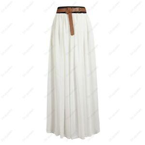 chiffon pleated retro maxi skirt vintage