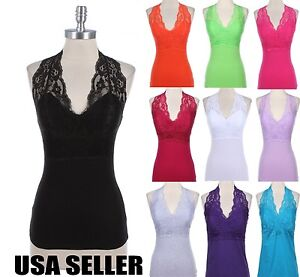 Women Sexy Lace Halter V Neck Sleeveless Cotton Tank Top with Padded ...