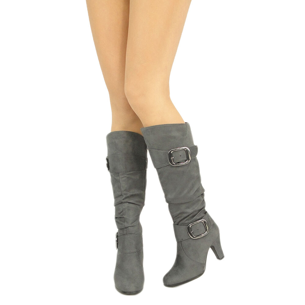 slouchy knee high faux suede high heel boots gray sz