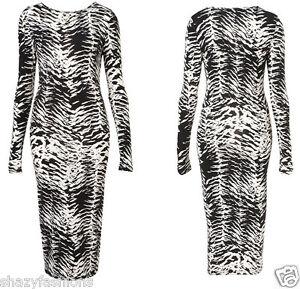 Leopard Print Maxi Dress on Womens Animal Tribal Print Long Midi Stretch Bodycon Ladies Maxi Dress