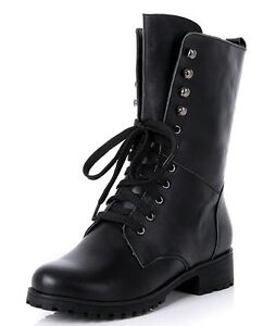 New Jil Sander Navy Leather LaceUp MidCalf Combat Boots In Black  Lyst