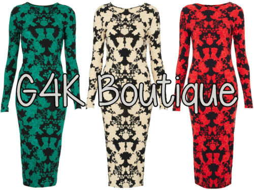 Womens Celeb Lace Placement Midi Pencil Bodycon Floral Evening Red Party Dress
