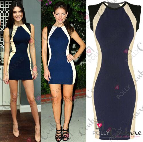 Womens Celebrity Colour Block Optical Illusion Contrast Party Bodycon Mini Dress
