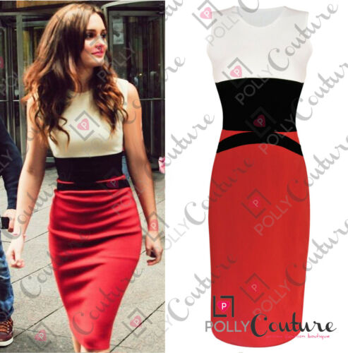 Womens Celebrity Midi Bodycon Ladies Red Pencil Evening Slimming Panel Tea Dress