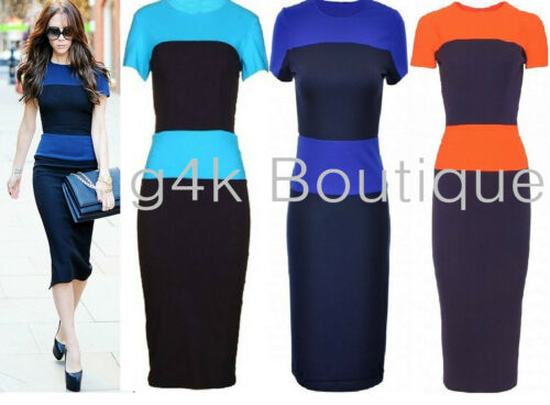 Womens Colour Block Striped Bodycon Knee Length Pencil Ladies Towie Celeb Dress