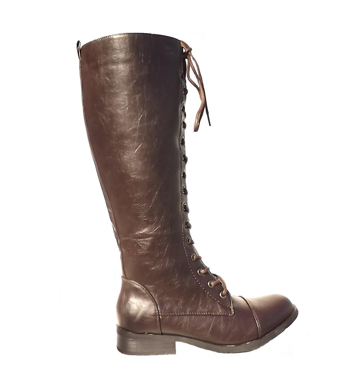 womens brown combat motorcycle knee high
