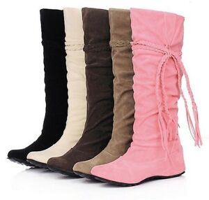womens fashion tassel wedge slouchy knee high boots