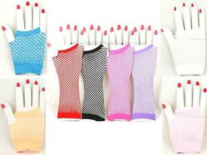 Womens-Fishnet-Fingerless-Gloves-Elbow-Wrist-8-Colors