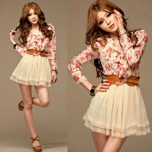 Long Sleeve Mini Dress on Womens Floral Print Long Sleeve Chiffon Mini Dresses Casual Hot Blouse