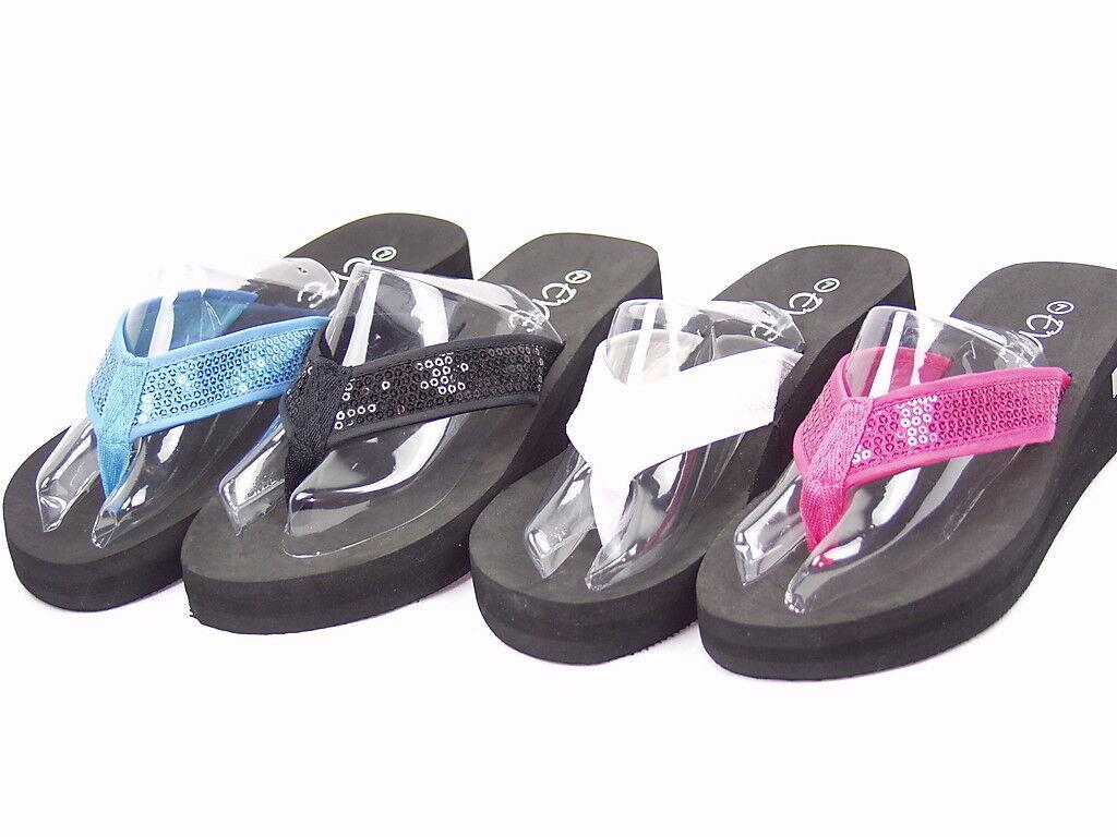 Womens Girls Flip Flops Thong Sandals Plataform Heel Black White