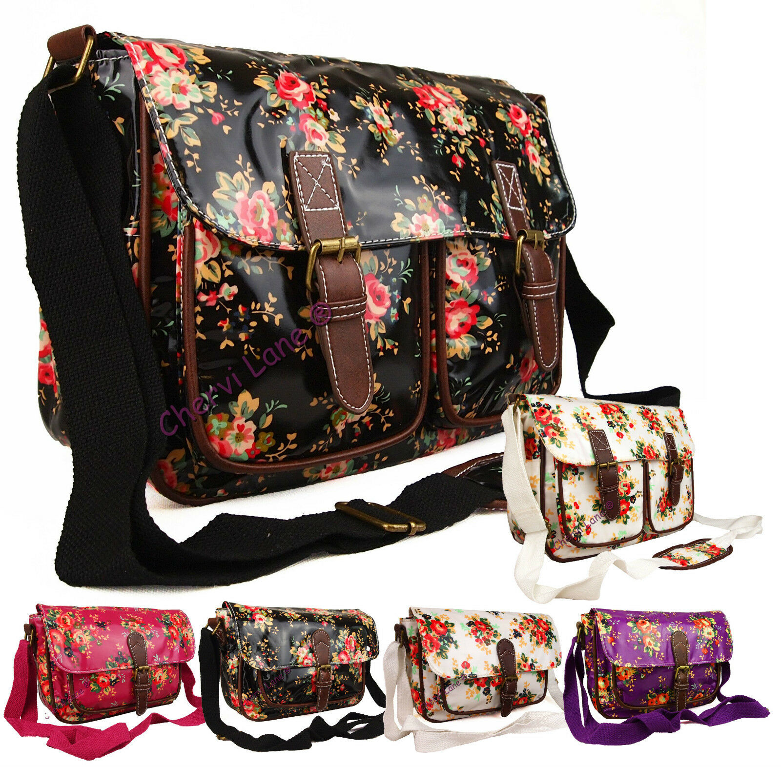 Womens Girls Floral Oilcloth Uni School College Messenger ...