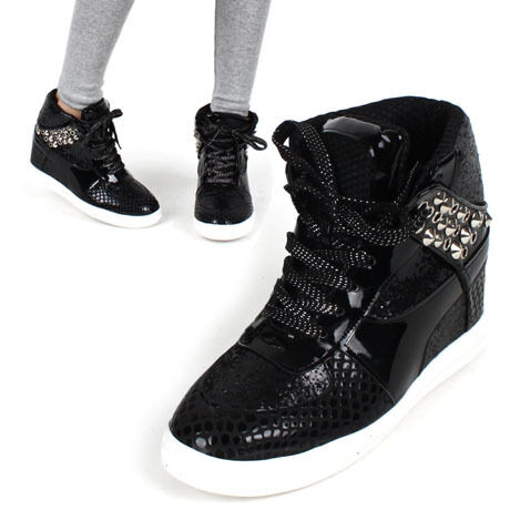 Womens Glitter Black Ankle High Top Hidden Insole Wedge Heels Fashion Sneakers | EBay