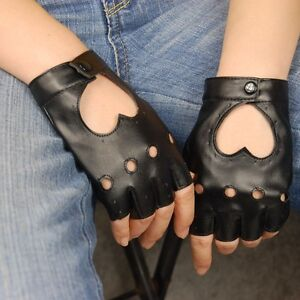 Womens-Heart-Punk-Performing-Black-Fingerless-Faux-Leather-Gloves-Motorcycle