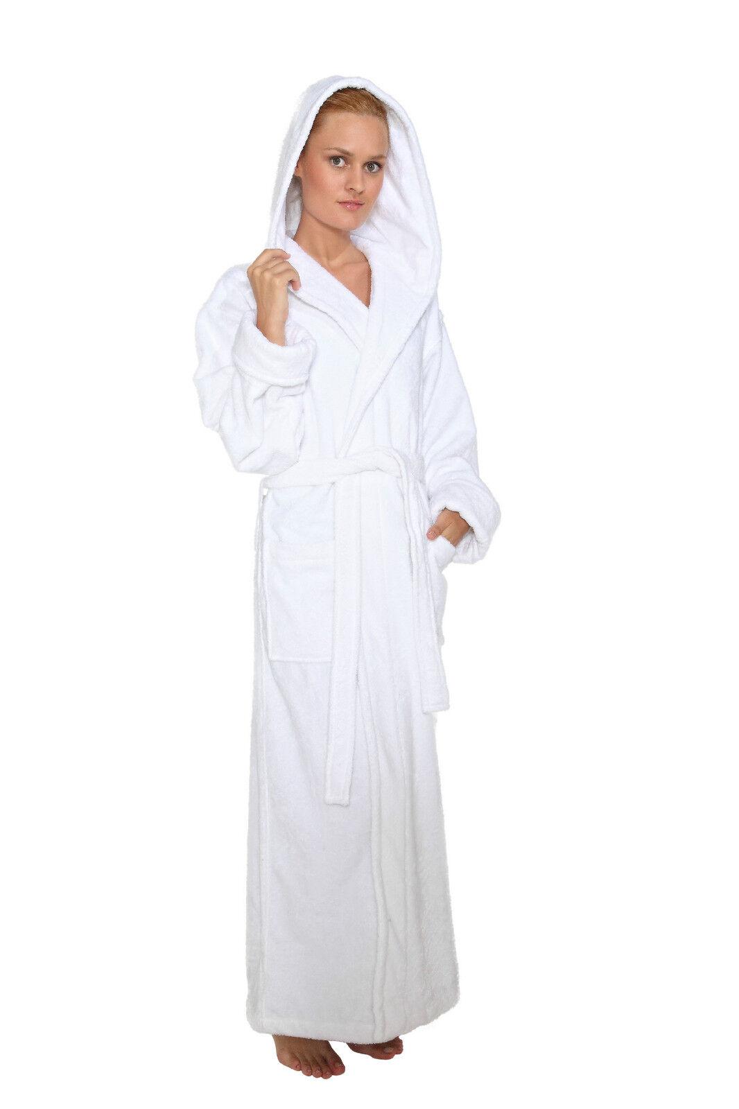 Hooded Bathrobe Womens Long Turkish Terry Cotton Spa Robe