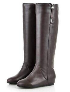 womens genuine leather zipper flat knee high boots