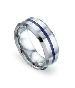 Womens Mens Band Ring Engagement Tungsten Blue Resin Inlay Ring Polished
