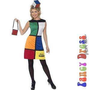 Fancy Dress Costumes on Womens Rubiks Cube Retro 80s Fancy Dress Costume X Large Size 16 18