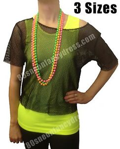 Womens-Retro-80s-Black-Mesh-Net-Vest-Top-XXL-14-20-Brand-New