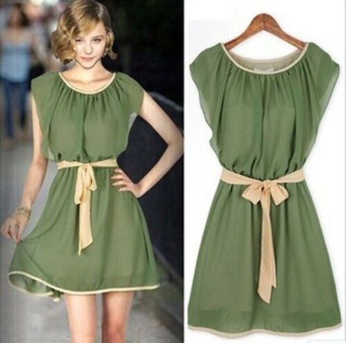 Womens Sleeveless Chiffon Celeb Style Green Ladies Casual Dress Dresses