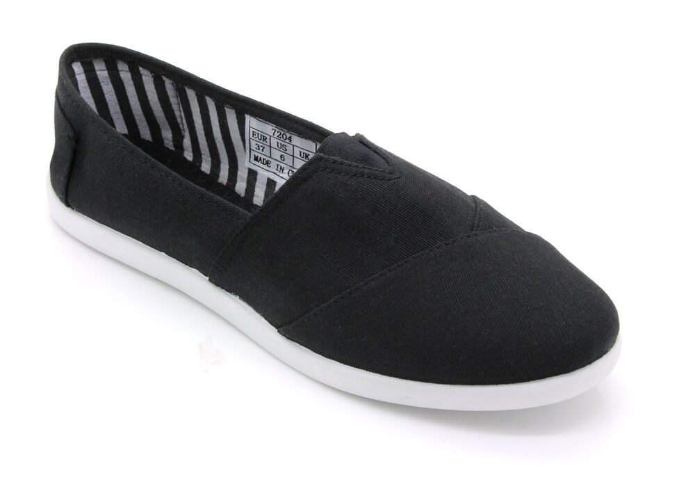 womens slip on casual flats oxfords canvas shoes black