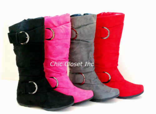 Womens Tall Fux Suede Flat Boots Buckle Mid Calf Heel Fashion Winter Warm Shoes in Clothing, Shoes & Accessories, Women's Shoes, Boots | eBay