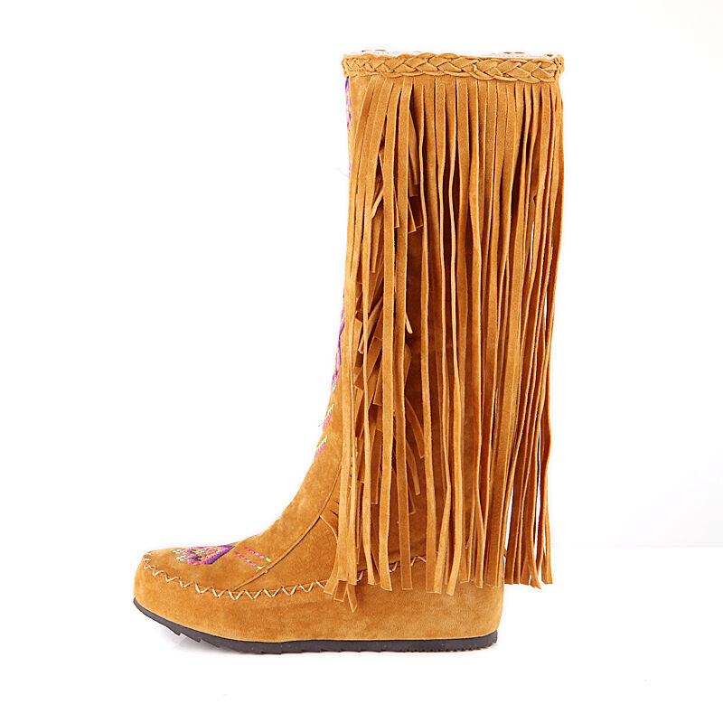 tassels fringe womens embroidery mid calf knee high boots