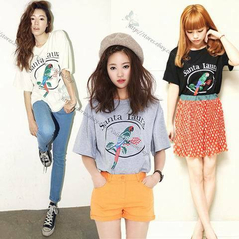 Womens Vintage Loose Fit Cotton Graphic Letters Birds Printed T Shirt Tee Tops
