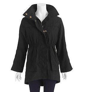 Womens Winter Cold Weather Anorak Jacket Coat w Hideable Hood Black
