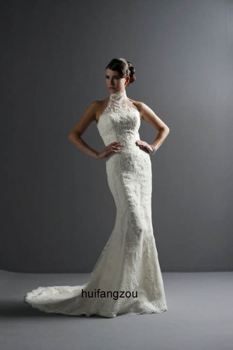 Lace High Neck Brand New Bridal Wedding Prom Party Evening Dress Gown