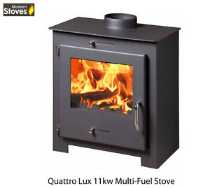 Wood Burning Multi fuel Contemporary Modern Stoves Quattro 11kw Stove