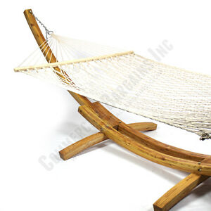 ... on Wooden Hammock 2 Person Cotton Rope Curved Arc Larch Outdoor Stand