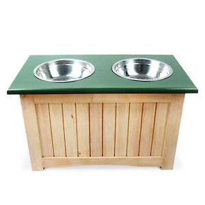 wooden raised dog food feeder storage cabinet twin stainless steel bowls ebay. Black Bedroom Furniture Sets. Home Design Ideas