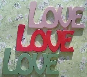 Wooden word letters love wall plaque decoration art ebay for Furniture 5 letters word whizzle