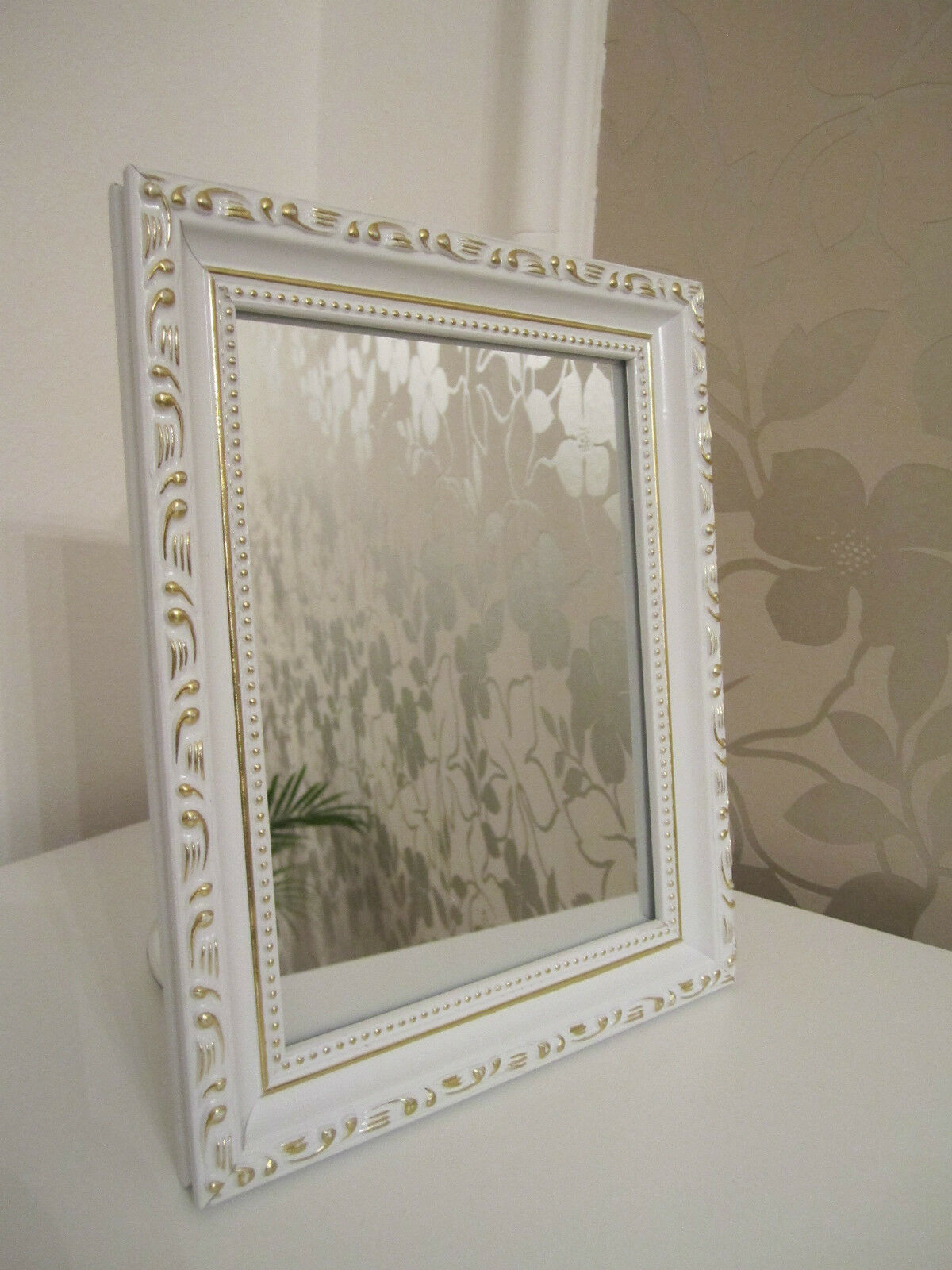 Beautiful baroque mini wall mirror shabby antique look for Plastic baroque mirror