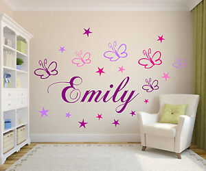 wunsch namen m schmetterlingen sternen wand spruch wandtattoo kinderzimmer baby ebay. Black Bedroom Furniture Sets. Home Design Ideas