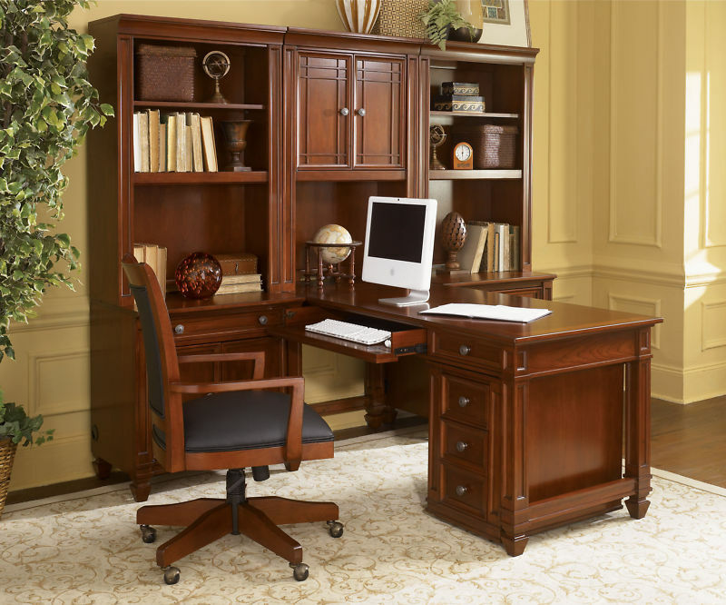 Artisan Cherry Wood Wall Computer Desk Unit Home Office Furniture ...