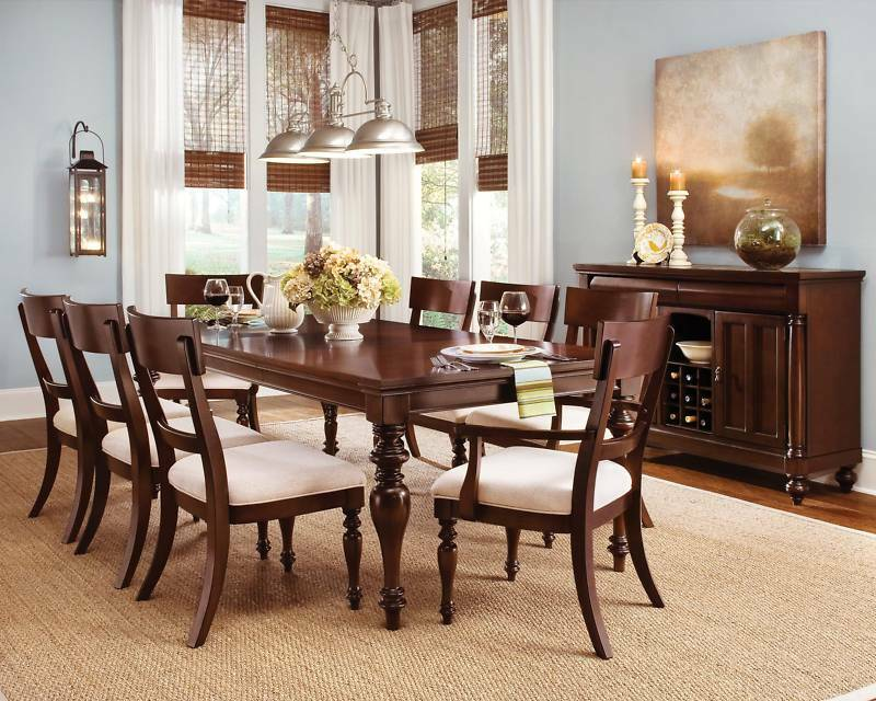 Wynwood harrison cherry wood dining room furniture table 6 for Cherry formal dining room sets