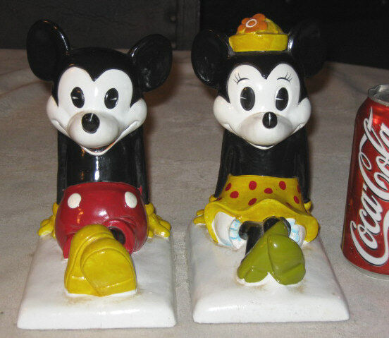 X RARE Composition Walt Disney Mickey Minnie Mouse Home Desk Art Toy Bookends