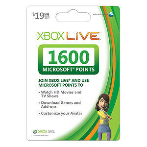 XBOX 360 Live MICROSOFT Points *NEW/UNSCRATCHED* 1600 Card *FREE & FAST* POST in Video Games & Consoles, Prepaid Gaming Cards | eBay