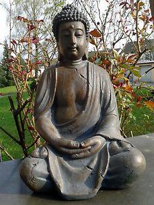 XL-Grosser-Buddha-sitzend-braun-ca-40-cm-Figur-Feng-Shui-Skulptur-Lotus-ASIA-NEU