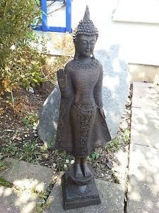 XL-Thai-Buddha-Tempelwaechter-stehend-braun-ca-45-cm-Feng-Shui-Statue-Skulptur