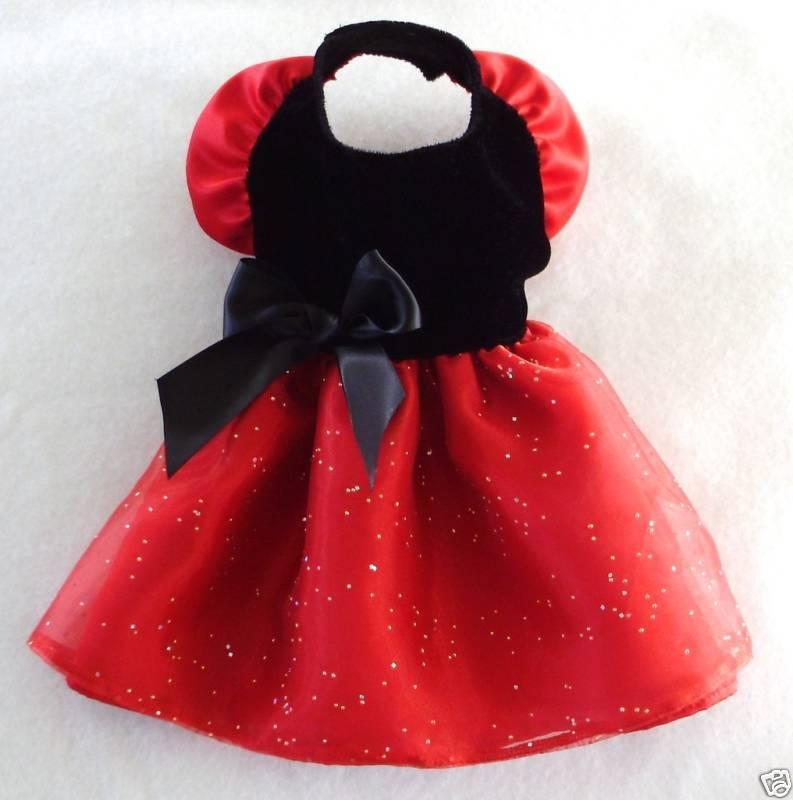 XS Black Velvet Red Satin Dog Dress clothes Gown